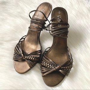 Bronze wrap around heels from the UK